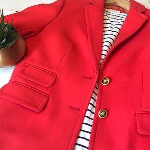 J Crew Red/Orange Hacking Wool Blazer